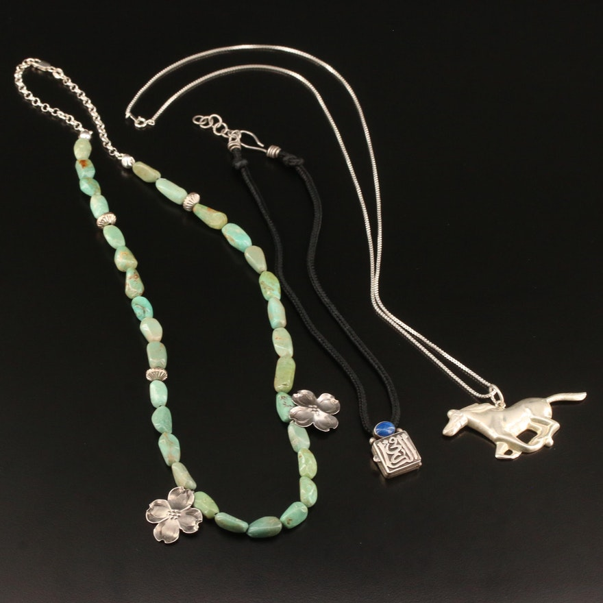 Sterling Silver Necklaces Featuring Turquoise, Lapis Lazuli and Horse Pendant