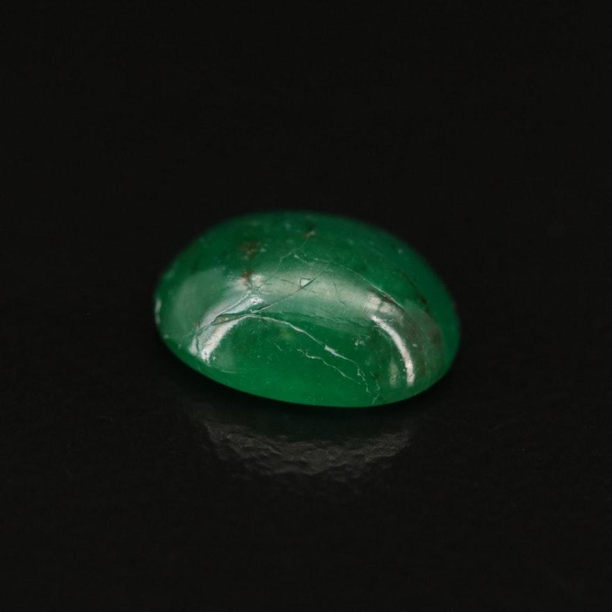 Loose 1.60 CTW Oval Cabochon Emerald Gemstone