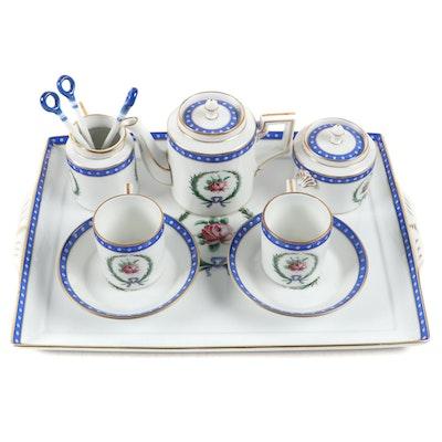 "Richard Ginori ""Princess Blue"" Italian Porcelain Tea Set"