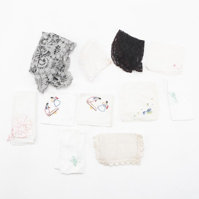 Lace and Embroidered Handkerchiefs with Floral Lace Scarf