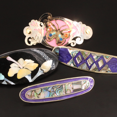 Barrette Selection Featuring Abalone and Mother of Pearl Accents