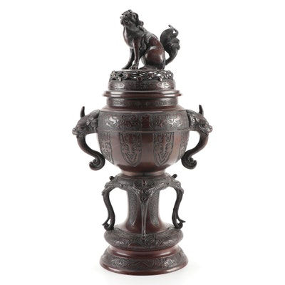 Chinese Cast Bronze Guardian Lion and Dragon Temple Censer, Antique