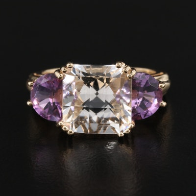 14K Rock Quartz Crystal and Amethyst Ring