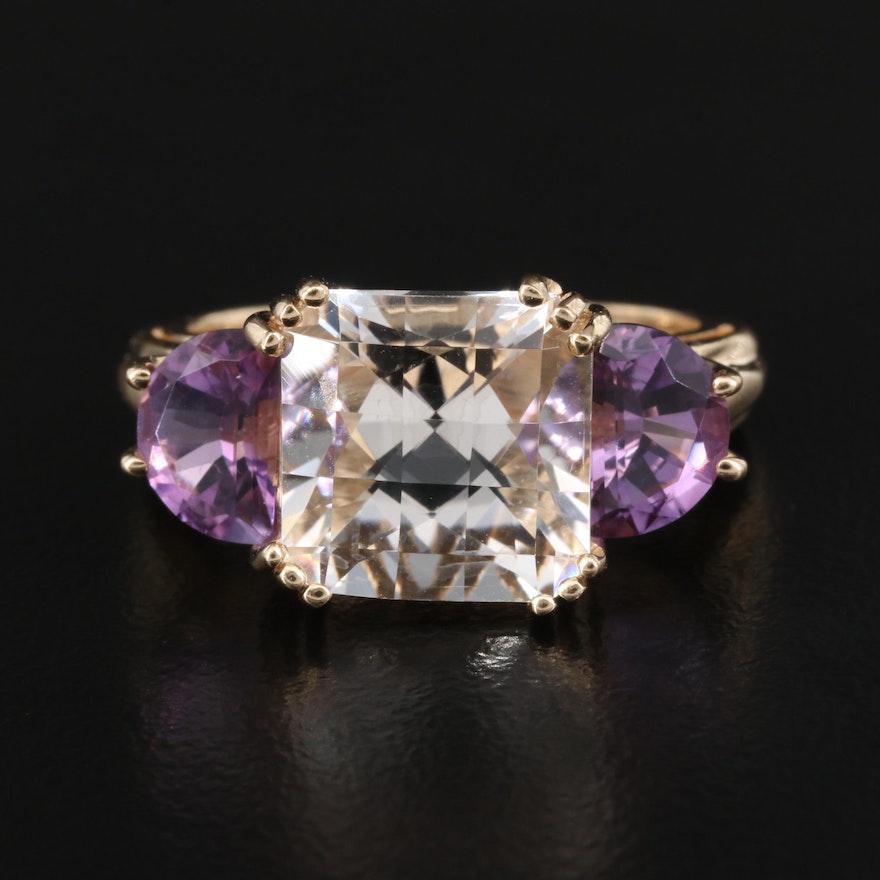 14K Rock Quartz Crystal and Amethyst Ring