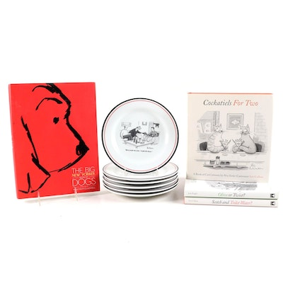 Restoration Hardware New Yorker Cheese Plates with Assorted New Yorker Books