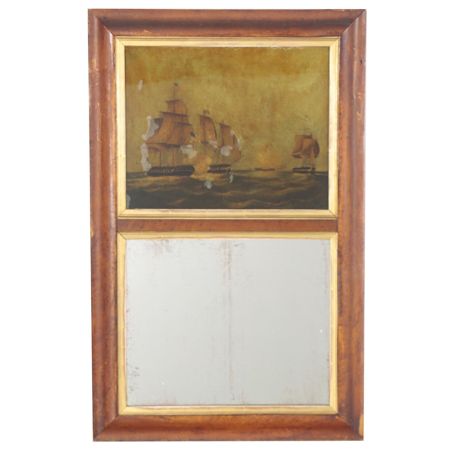 Trumeau Mirror with Reverse Painted Nautical Scene, Late 19th Century