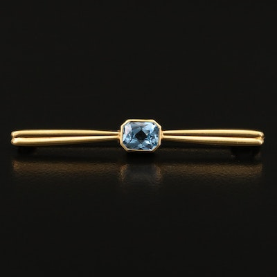 1940s 18K Topaz Bar Brooch