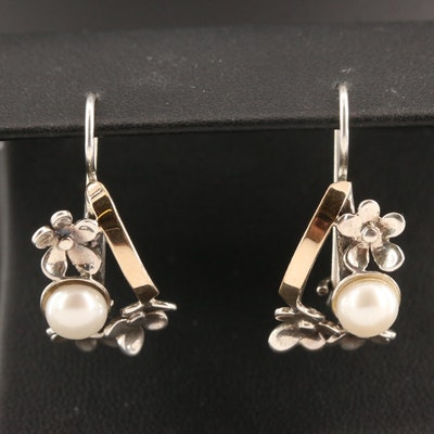 Sterling Mabé Pearl Flower Drop Earrings
