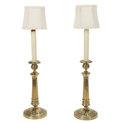 Brass Converted Candlestick Buffet Lamps, Mid/Late 20th Century