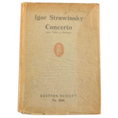 """Signed """"Concerto en Ré pour Violon et Orchestre"""" by Igor Stravinsky with COA"""