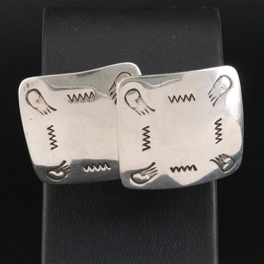 Artist Signed Sterling Silver Stampwork Earrings