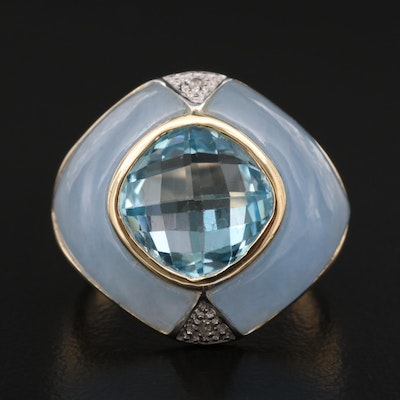 14K Topaz, Jadeite and Diamond Ring