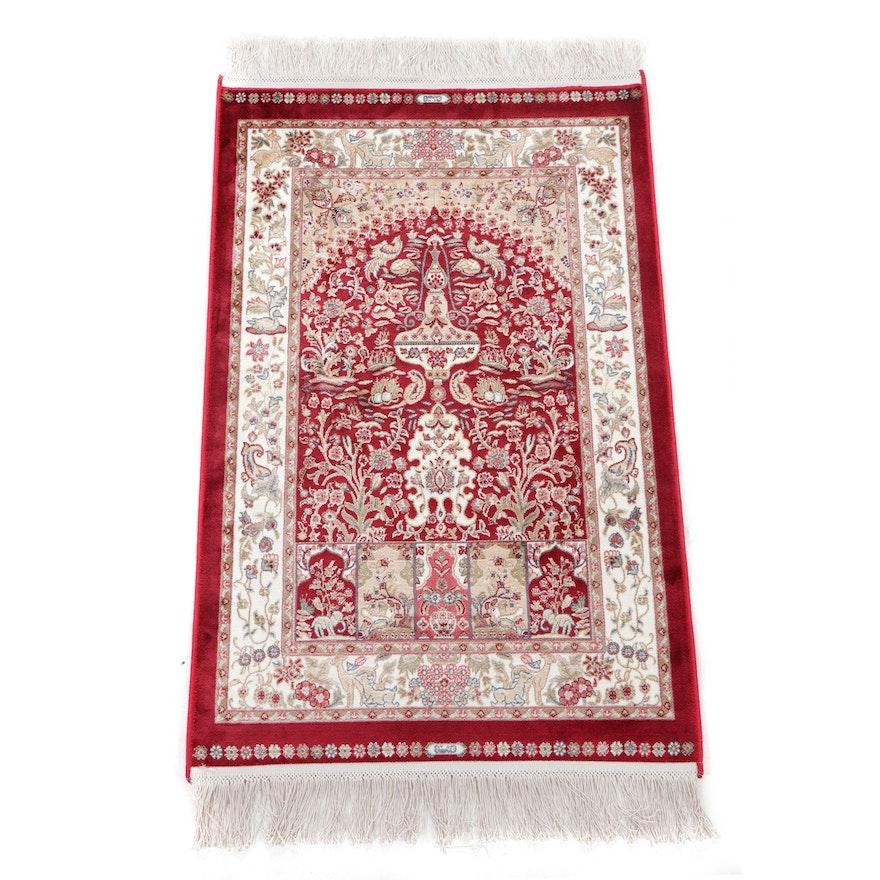 1'10 x 3'6 Machine Made Turkish Bamboo Silk Pictorial Prayer Rug, 2010s