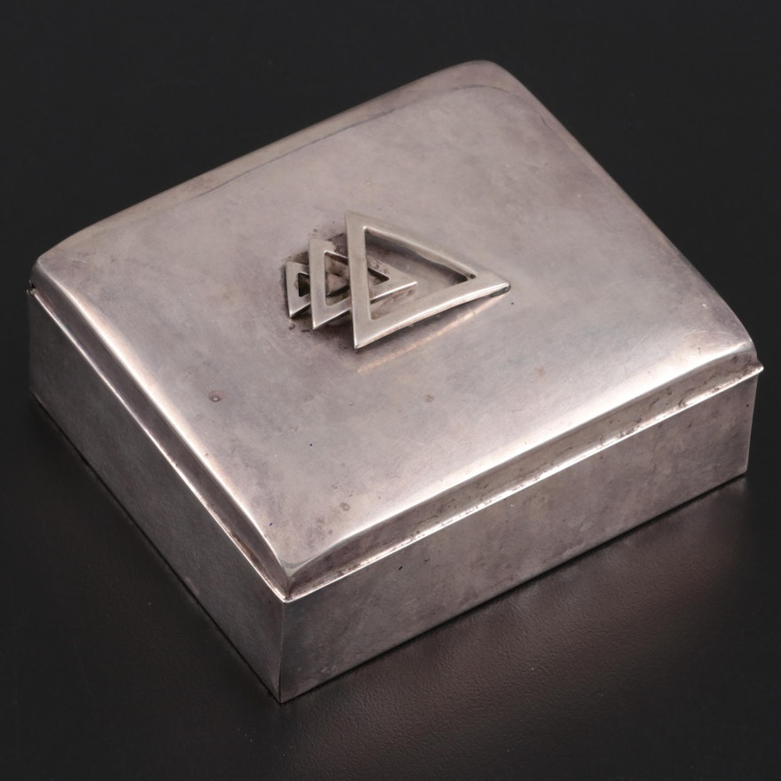 Mid-Century Modern Poole Sterling Silver and Cedar Lined Cigarette Box