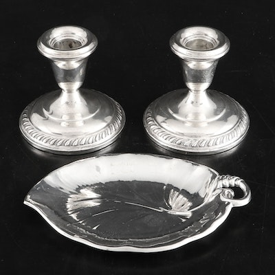 Regent Weighted Sterling Silver Candlesticks and Meriden Britannia Sterling Tray