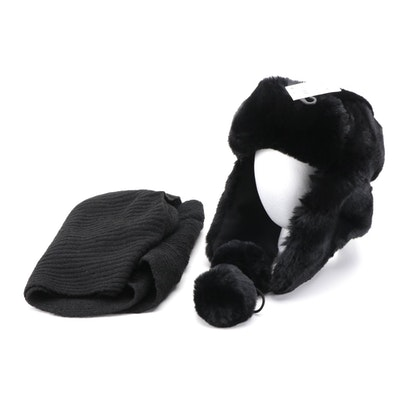 INC Black Faux Fur Ear Flap Hat and Knit Scarf
