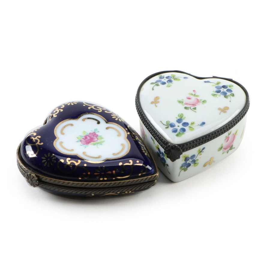 Parry Vieille Limoges Porcelain Heart Box with Other Porcelain Heart Box