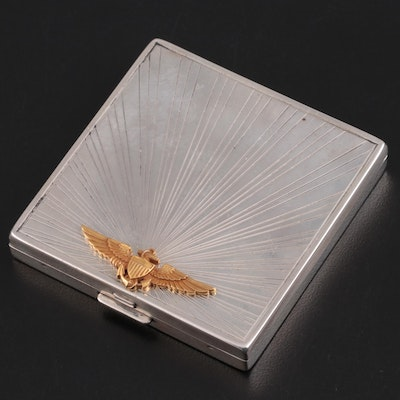 U.S. Naval Aviator Award Tiffany & Co. Sterling Compact and 14K Gold Insignia