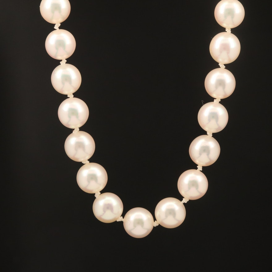 Mikimoto Clasp on Hand Knotted Pearl Strand Necklace
