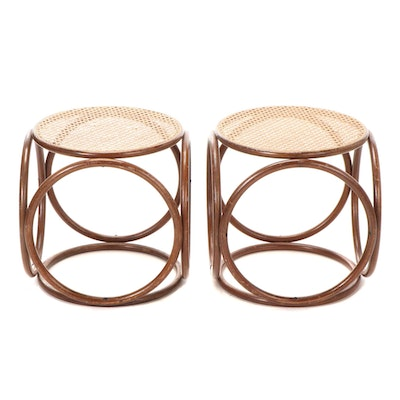 Pair of Bentwood and Caned Stools, Manner of Thonet, Mid to Late 20th Century