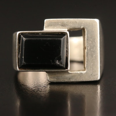 Vintage Mexican Sterling Silver Glass Geometric Ring