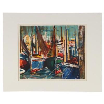 """Rodolphe Caillaux Color Lithograph """"Bateaux en Cale Sèche,"""" 1960s"""