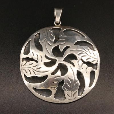 Mexican Sterling Silver Pierced Foliate Pendant