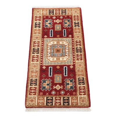 2'1 x 4'3 Hand-Knotted Indo-Caucasian Kazak Accent Rug, 2010s