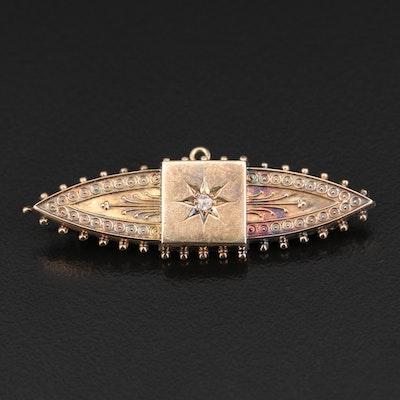 Victorian 14K Diamond Marquise Brooch