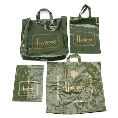 Harrods Coated Fabric and Plastic Retail Bags