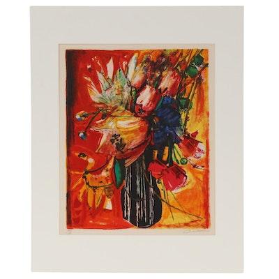 """Rodolphe Caillaux Color Lithograph """"Bouquet de Fleurs,"""" 1960s"""
