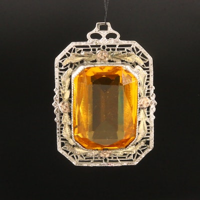 Art Deco Glass Filigree Pendant