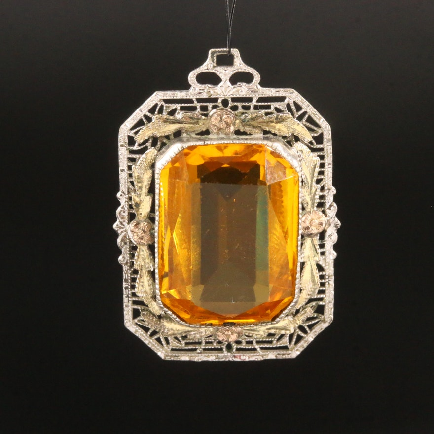 Art Deco Glass Filigree Pendant