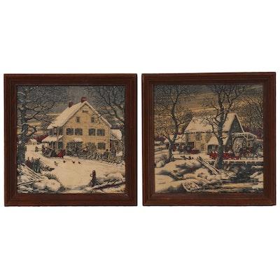 Serigraphs of Winter Cottage Scenes, Mid-20th Century