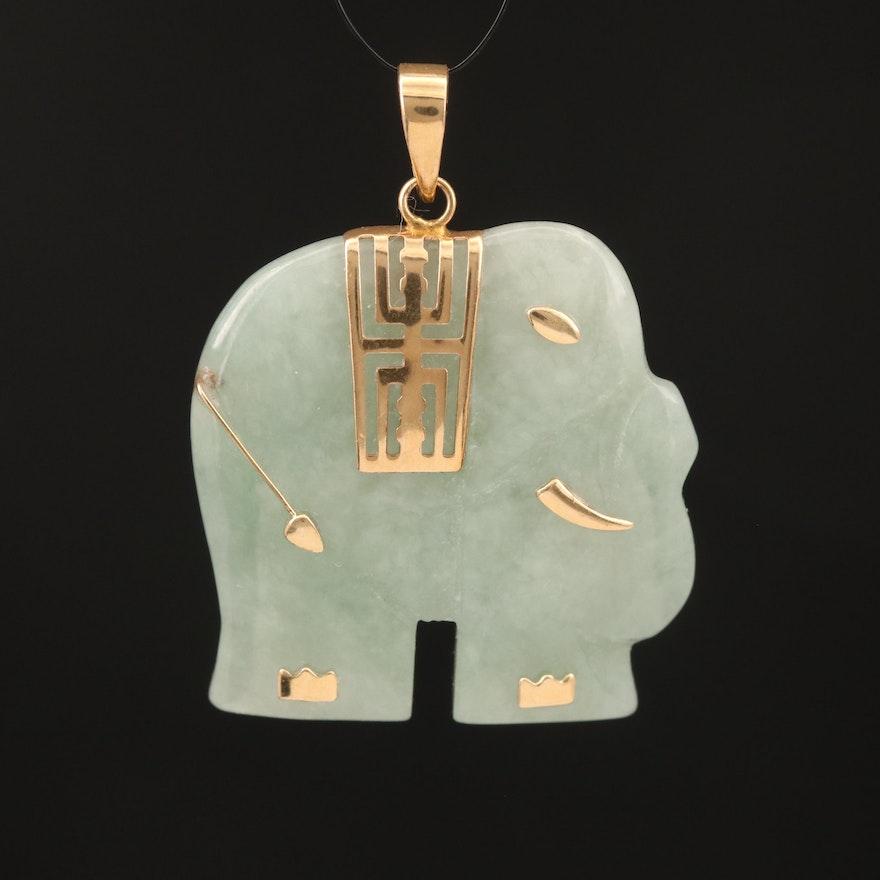 Asian 10K Carved Jadeite Longevity Elephant Pendant
