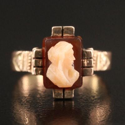 Victorian 10K Sardonyx Cameo Ring
