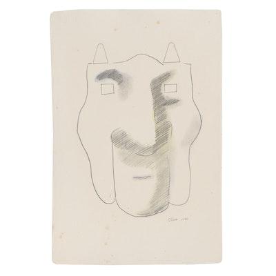 Eduardo Oliva Abstract Graphite and Watercolor Portrait, 1970