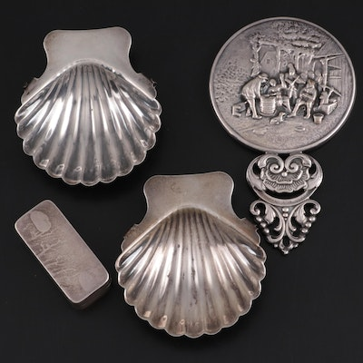 Mexican Sterling Shell Ashtrays, Sterling Tobacco Box, and Baroque Style Mirror