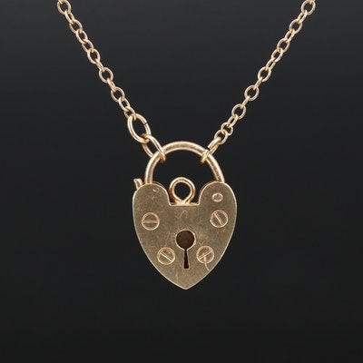 Vintage 14K Heart Padlock Necklace