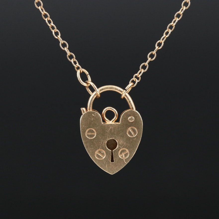 Vintage 14K Heart Padlock Necklace
