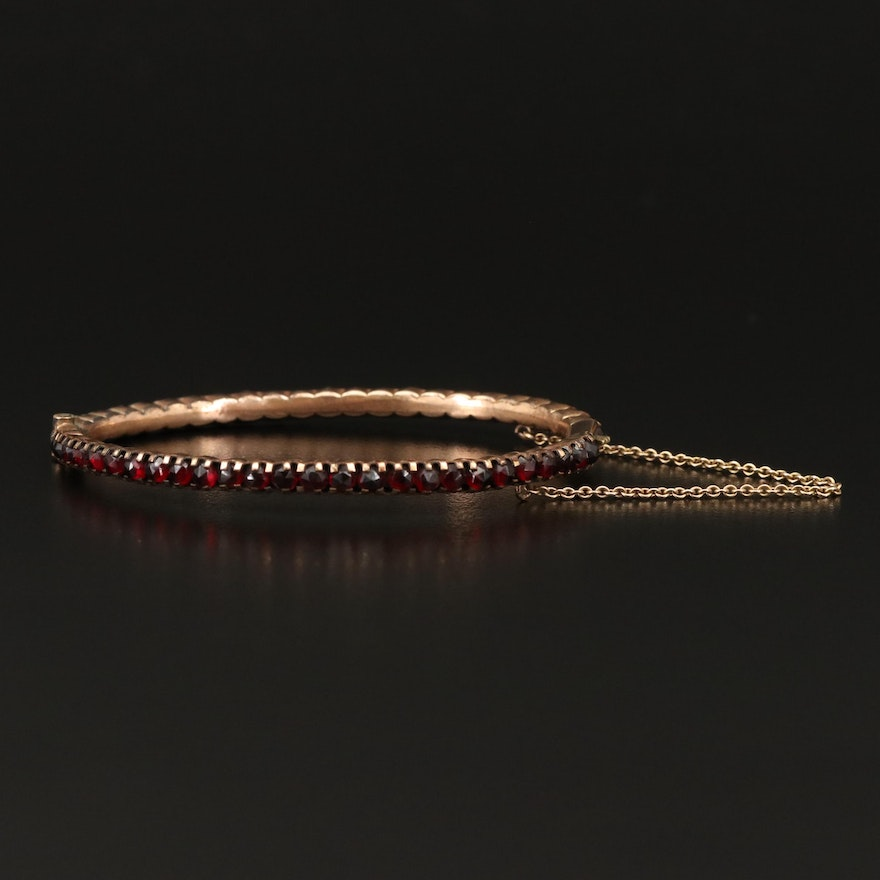 Vintage Garnet Bangle with 10K Safety Chain