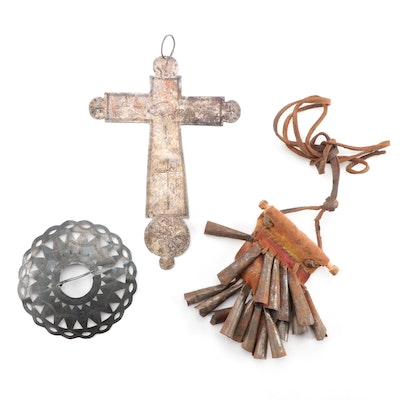 """""""Trade Silver"""" Pierced Brooch, Tin Cone Jingles and Cut Out Cross"""