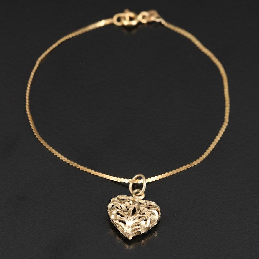 14K Openwork Heart Charm Bracelet