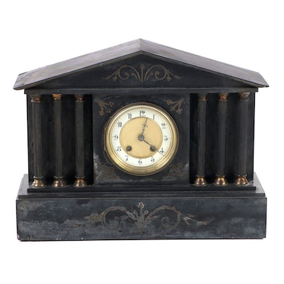 Hamburg American Clock Company Slate Mantel Clock, Early 20th Century