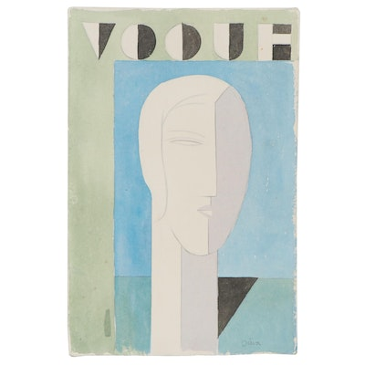 "Eduardo Oliva Watercolor Painting ""Vogue,"" Late 20th Century"
