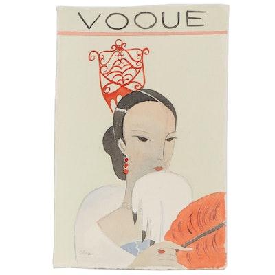 "Eduardo Oliva Watercolor Illustration ""Vogue,"" Late 20th Century"