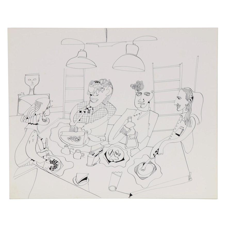 Eduardo Oliva Figural Ink Drawing, 1985