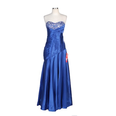 Masquerade Royal Blue Satin Strapless Gown with Side Cutouts and Beading