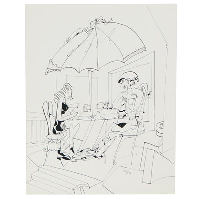 Eduardo Oliva Figural Surrealist Ink Drawing, 1986