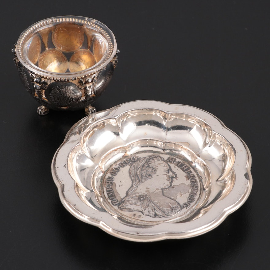 Gebrüder Kühn Sterling Bowl with Maria Theresa Thaler and Coin Salt Cellar